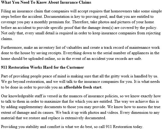 911 Restoration Washington DC Insurance