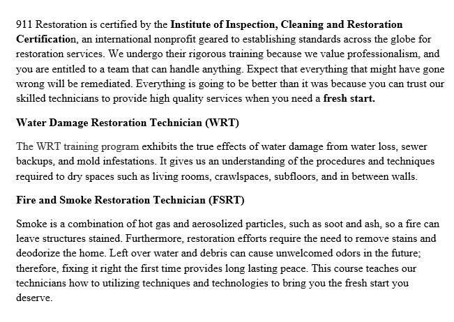 911 Restoration Washington DC Certificates