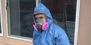 Water Damage Restoration Technician Clearing Mold From Home