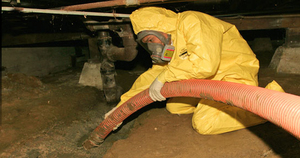 Water Damage Restoration Technician In Crawlspace